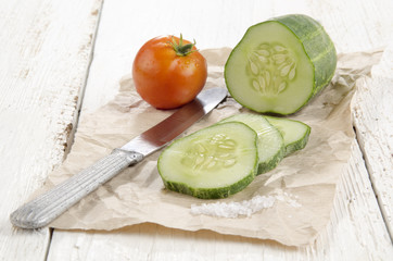 sliced ​​cucumber and a tomato