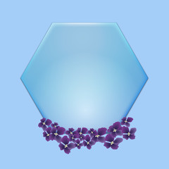 blue hexagon with violet flowwer  on blue background