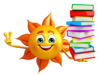 Sun Character With Books pile