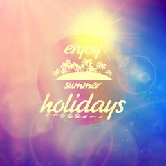 Summer holidays sunset with defocused lights.