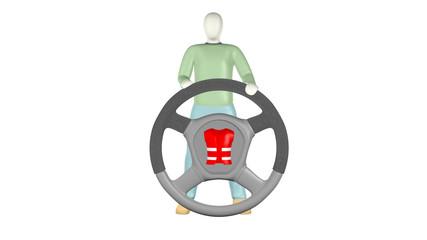 3D Charackter mit Warnweste im Lenkrad