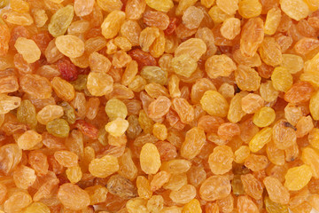 Golden raisins close up.