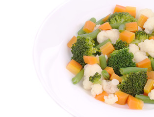 Cauliflower salad with broccoli and carrot.