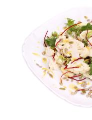 Cauliflower salad close up. Macro.