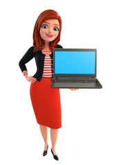 Young Corporate lady with laptop