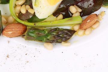 Close up of asparagus salad.