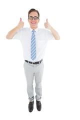 Geeky happy businessman showing thumbs up
