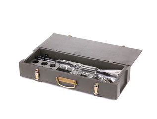 Case with Kalashnikov AK rifle bottle.