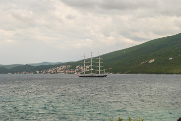 Sailing Super Yacht in the Bay of Kotor
