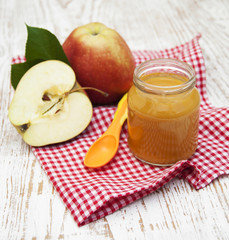 Apples puree in jar
