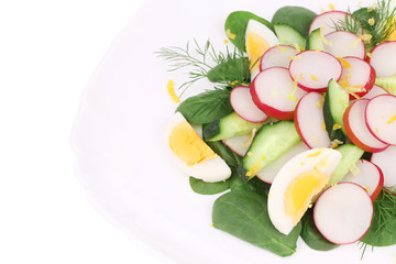 Close up of radish salad with eggs.
