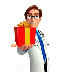 Young Doctor with gift box