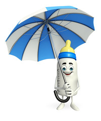 Baby Bottle character with umbrella