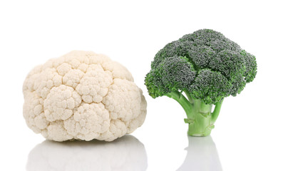 Fresh cauliflower and broccoli.