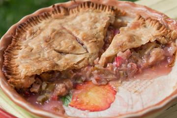 Fresh baked rhubarb pie - close up