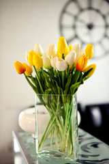Photo of bouquet spring tulips