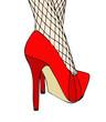 Una donna in eleganti scarpe rosse e calze a rete