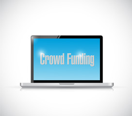 crowd funding computer sign illustration