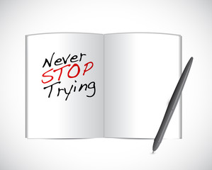 never stop trying message illustration