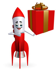 Rocket character with gift box