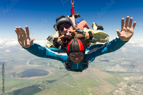 Aluminium Luchtsport Skydiving photo. Tandem.
