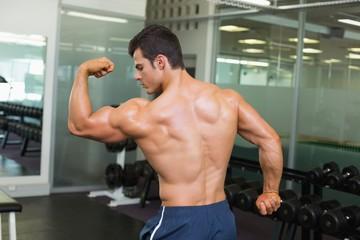 Rear view of a muscular man flexing muscles