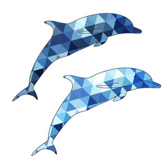 Dolphins silhouette isolated on white background