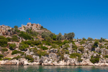 Fort on the Kekova island, Antalya province, Turkey