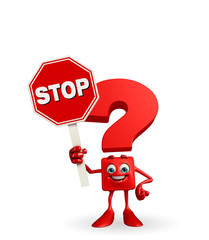 Question Mark character with stop sign