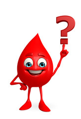 Blood Drop Character with question mark