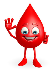 Blood Drop Character with hello pose