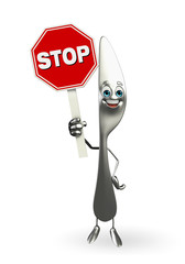 knife character with stop sign