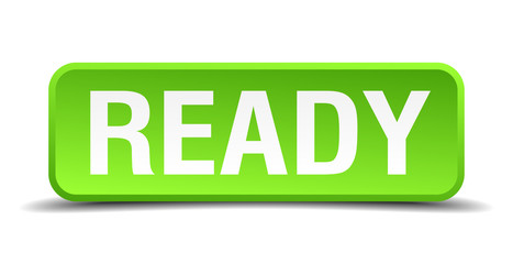 Ready green 3d realistic square isolated button