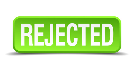 Rejected green 3d realistic square isolated button