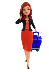 Young Corporate lady with traveling bag
