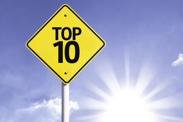 Top 10 road sign with sun background