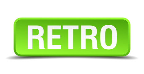 Retro green 3d realistic square isolated button
