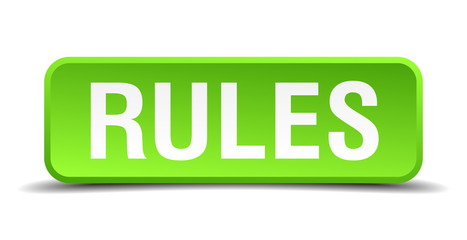 Rules green 3d realistic square isolated button