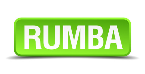 Rumba green 3d realistic square isolated button
