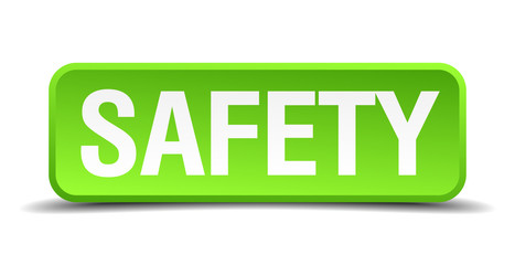 Safety green 3d realistic square isolated button