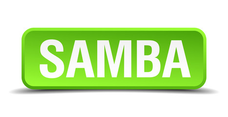 Samba green 3d realistic square isolated button