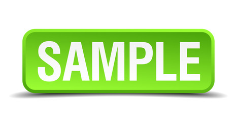 Sample green 3d realistic square isolated button