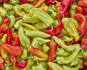 sweet horn peppers closeup, natural background