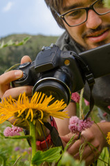 Hiker photographer take a picture of flowers in mountains