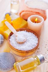 sea salt, soap and towels