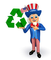 Uncle Sam with recycle icon