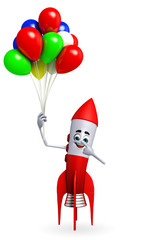 Rocket character with balloons