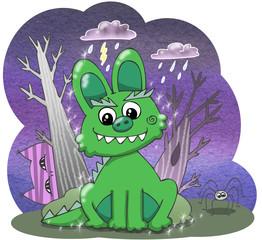 Cartoon Halloween bunny monster