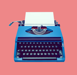 classic blue typewriter