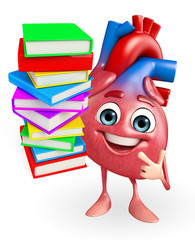Heart character with Books pile